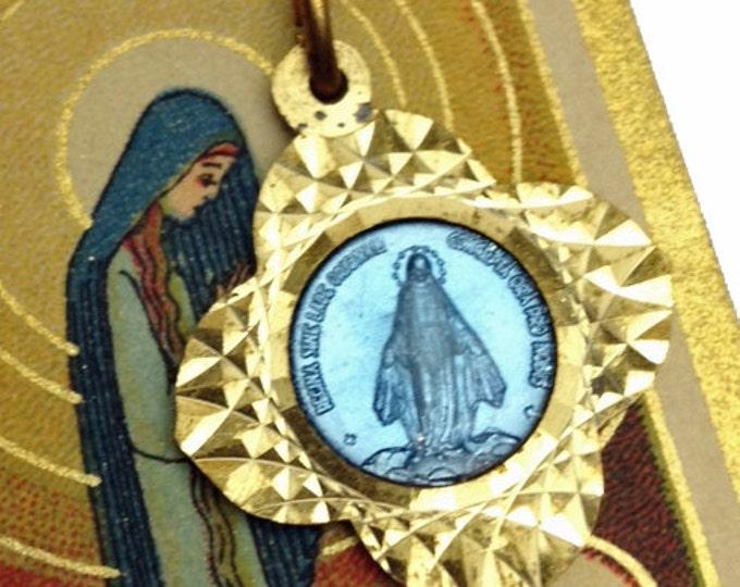 GORGEOUS MARY MEDAL Vintage Religious Sunburst