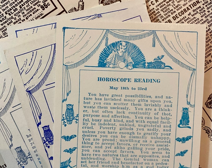 1pc HOROSCOPE FORTUNE CARD One Piece Genuine Vintage Birthday Card Exhibit Supply Postcard Celestial Choose Your Date Range