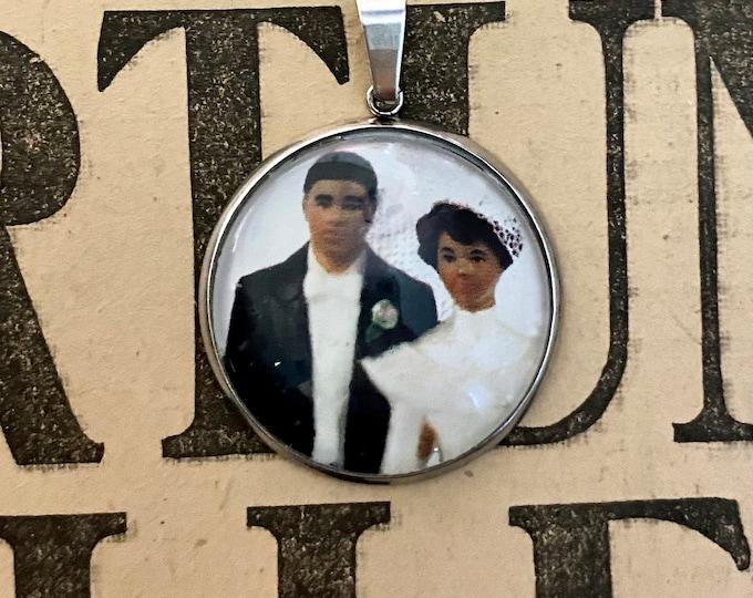 CAKE TOPPER PENDANT Vintage Wedding Marriage Paper Ephemera Under Glass + Steel Bezel Unique Charm Jewelry Small Oddity