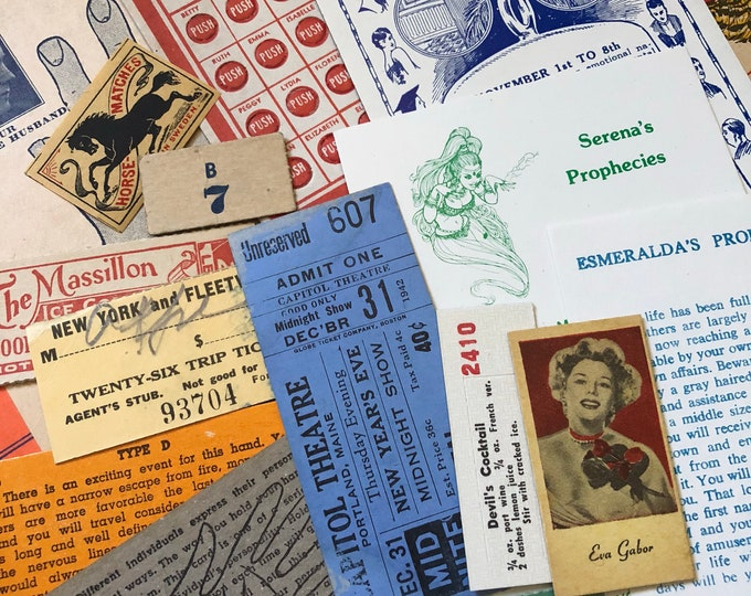 15+pcs GENUINE EPHEMERA PACK Vintage Best Quality Amazing Lot Collage Mixed Media Altered Art Tickets Labels Game Piece Fortune Mystery Pack