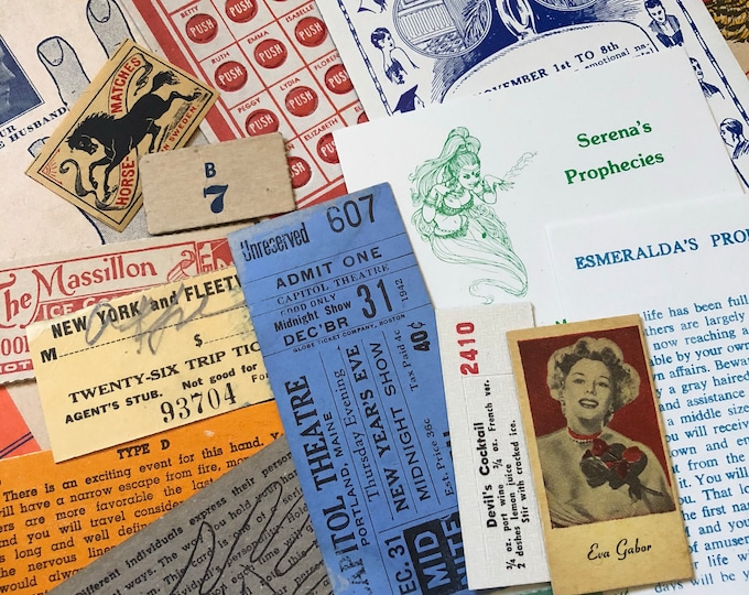 20+pcs GENUINE EPHEMERA PACK Vintage Best Quality Amazing Lot Collage Mixed Media Altered Art Tickets Labels Game Piece Fortune Mystery Pack