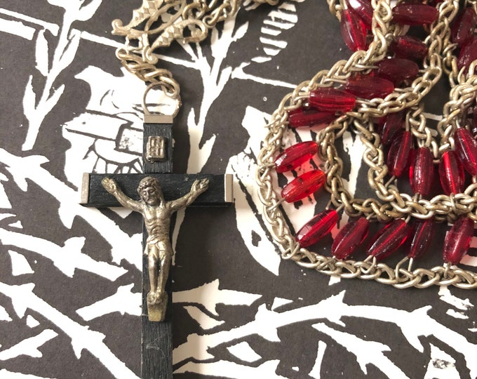 """VINTAGE UNUSUAL ROSARY Glass & Silver Metal Handmade Non-Traditional Red Beads Old Rosaries Wooden Crucifix Vintage Religious Necklace 30"""""""