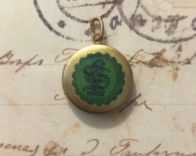 VINTAGE MONOGRAM LOCKET Old Brass Pendant + Antique Lawyer Seal Regal Style Genuine Ephemera Charm Jewelry Photo Locket Green