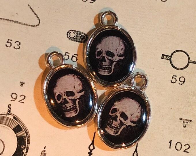 5pcs MOMENTO MORI CHARMS Tiny Custom Made Vintage Religious Images Skull Skeleton Miniature Pendant Medallions Lot