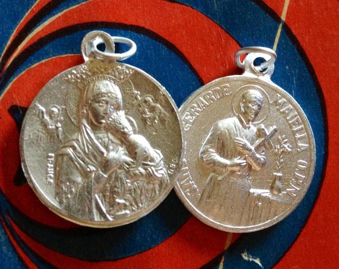 2pcs SAINT GERARD MEDALLIONS Vintage Our Lady Of Succor Religious Medals France