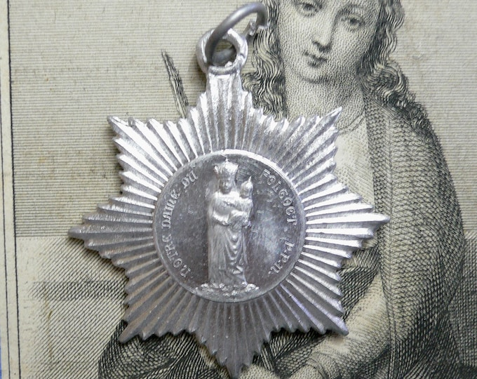 LADY OF MADMAN Vintage Religious Medallion Our Lady of Folgoet Madman of the Woods