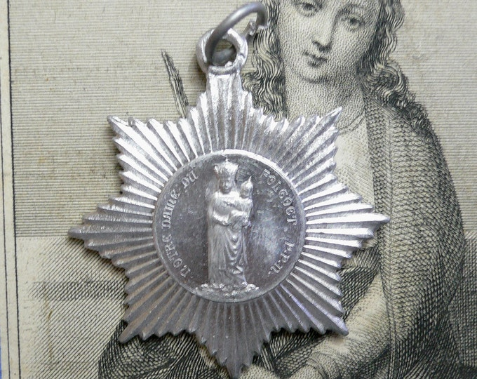 VINTAGE FOLGOET MEDALLION Vintage Religious Medal Our Lady of Folgoet Our Lady of The Madman of The Woods Our Lady of Fool of The Woods