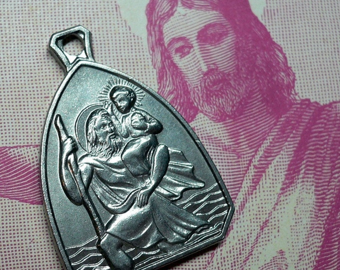 SAINT CHRISTOPHER MEDAL Vintage Religious Travel Amulet