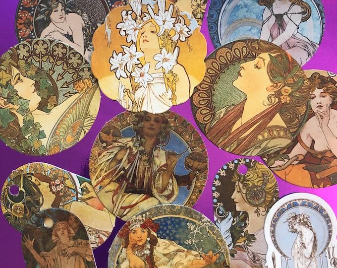 20+pcs ALPHONSE MUCHA STICKERS Czech Art Nouveau Women Labels Seals Tags Scrapbooking Mail Art Supply Stickers Lot