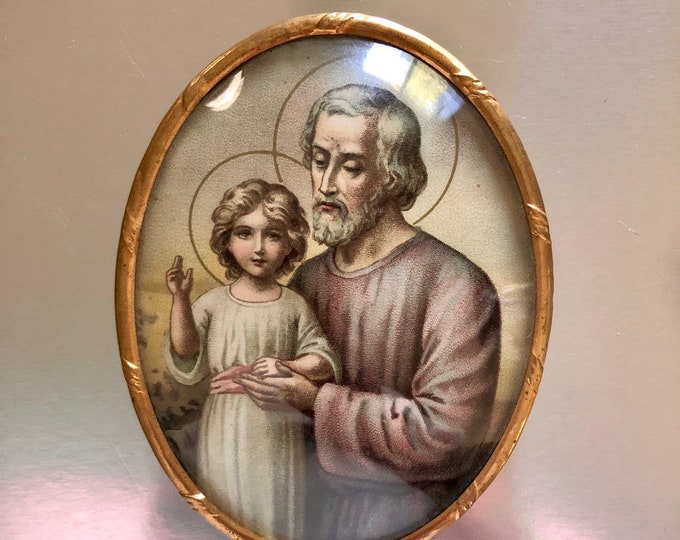 SAINT BUBBLE GLASS Vintage St. Joseph Devotional Religious Wall Hanging Convex Glass & Metal Catholic Marked L.M.C. France