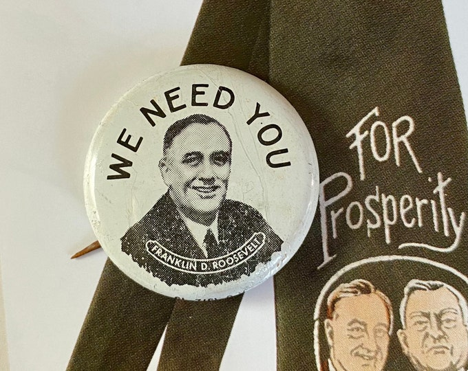 1932 POLITICAL CAMPAIGN BUTTON Franklin D. Roosevelt We Need You Tin Litho Vintage 1970s Repro Pin Back