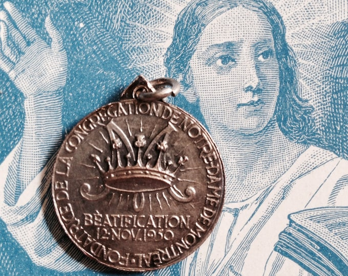 1950 MARGUERITE BOURGEOYS MEDAL Vintage Religious Montreal Canada