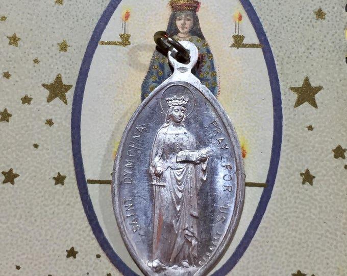SAINT DYMPHNA GEREBERNE Antique Vintage Religious Medal For Mental Health Religious Germany