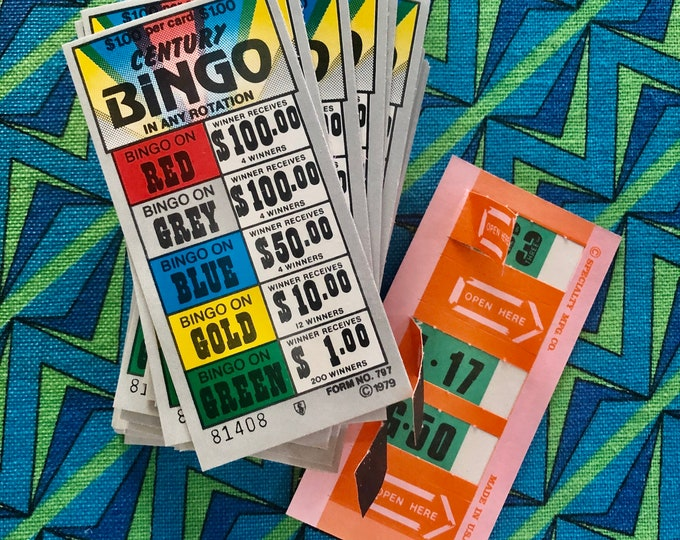 20pcs DISCO BINGO CARDS 1970s Vintage Bingo Pull Tab Number Cards Retro Rainbow Paper Ephemera Lottery Gambling Ticket Lot