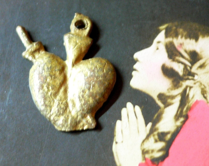 Vintage HEART MILAGRO Religious Medallion Love Prayer Used Ex Voto