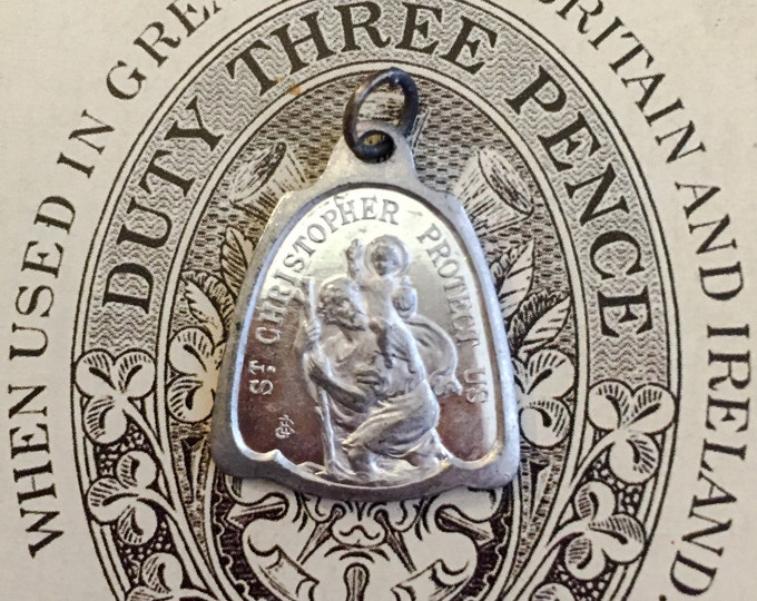 ST CHRISTOPHER MEDAL Vintage Religious Aluminum I Am A Catholic In Case of Accident or Illness Notify A Priest Signed Penin & Bouix