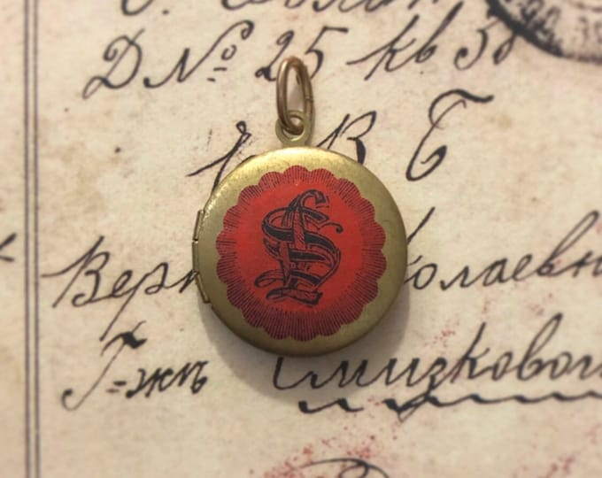 VINTAGE MONOGRAM LOCKET Old Brass Pendant + Antique Lawyer Seal Regal Style Genuine Ephemera Jewelry Photo Locket Charm Red