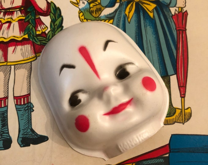 1pc VINTAGE CLOWN FACE Wee & Whimsical Small Doll Mime Plastic Hong Kong