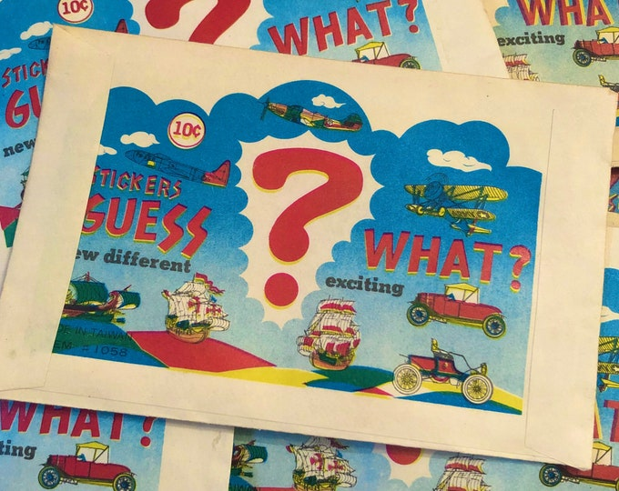 3pcs MYSTERY PUFFY STICKERS 1979 Guess What Sticker Mystery Pack Retro Party Favors Vending Prize Vintage Gumball Toy Lot