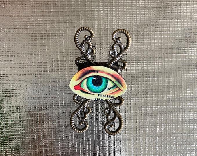 EYE BALL BROOCH Wooden Miniature Evil Eye Pin Jewelry Filigree Eyeball Oddity