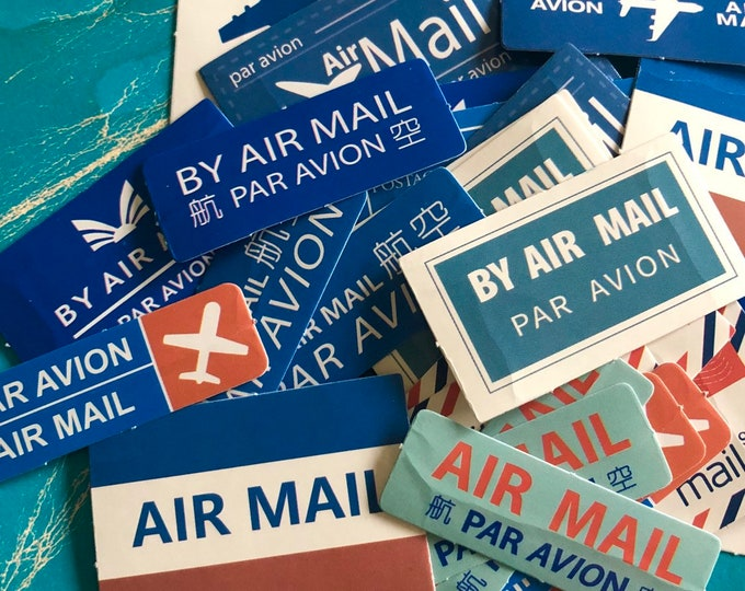 20+pcs AIR MAIL LABELS International & Domestic Vintage Style Mail Stickers Seals  Stationery Supply Lot