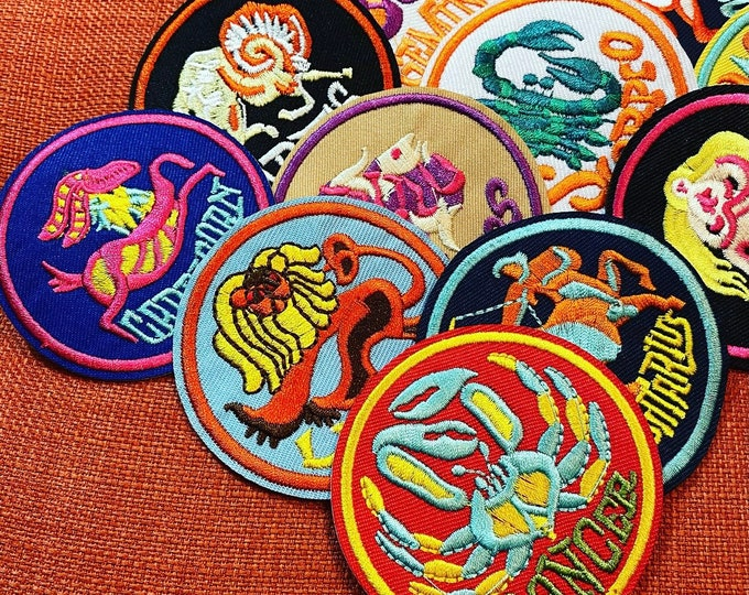 1pc RETRO ASTROLOGY PATCH Vintage Style Embroidered Appliqué Metaphysical Horoscope Sign Iron On Sewing Notion Crafting Supply U.S. Seller