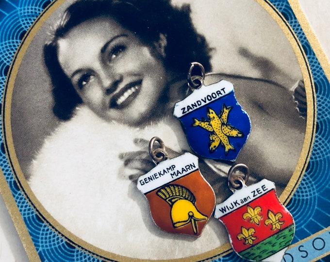 1pc VINTAGE NETHERLANDS CHARM Enamel Shield Souvenir