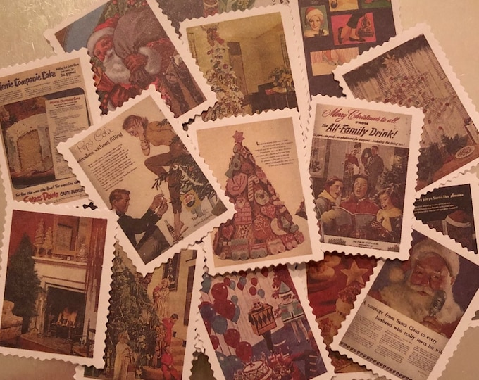 20+pcs VINTAGE CHRISTMAS STICKERS Old Design Holiday Scenes & Advertisements Gift Wrap Aged Faded Style Ephemera Labels