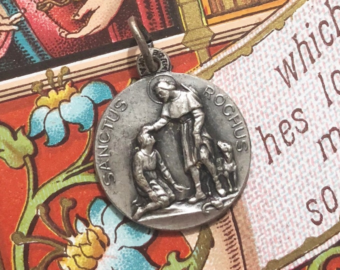 1pc SAINT ROCH MEDALLION Vintage St. Roch Hard Silver Medal Religious Jewelry Necklace Pendant Charm Patron of Dogs & Bachelors