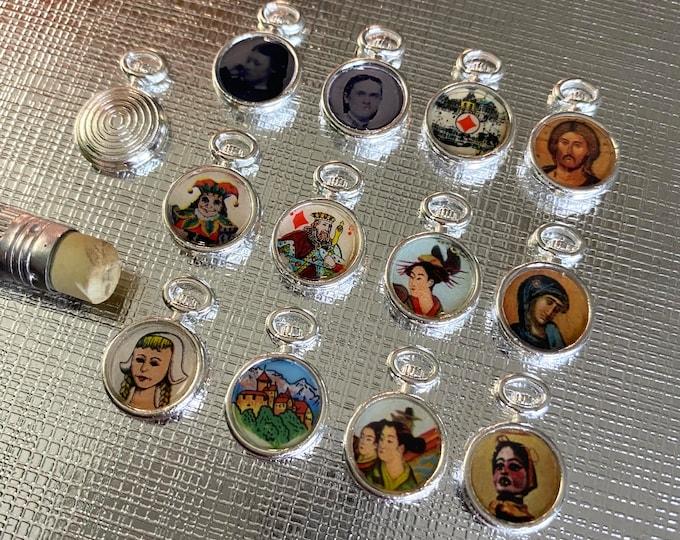 1pc POCKET WATCH CHARM 10mm Vintage Ephemera Beyond Miniature Pendant Super Tiny Jewelry Resin Set No Two Alike