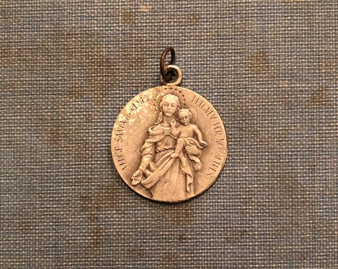 SANCTA VERACRUZ MEDALLION Vintage Religious Medallion Los Remedios Virgin Mary Catholic Jewelry Miraculous Medal Pendant Mexico City