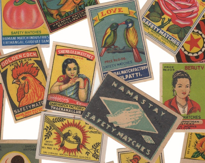 25pcs INDIAN MATCHBOX STICKERS Vintage Retro Images Handmade Set F