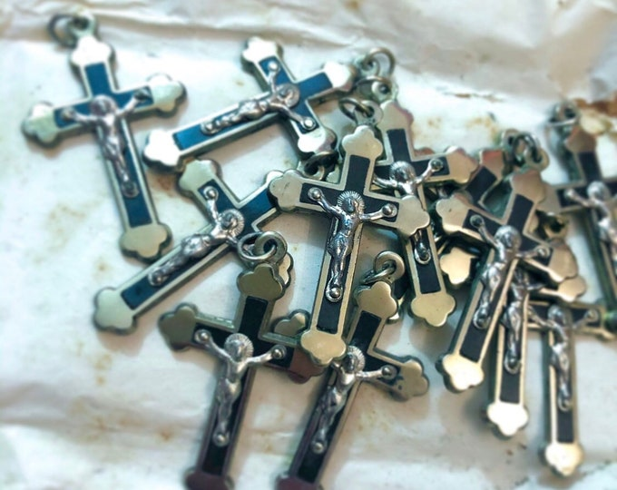 12pcs BUDDED FRENCH CRUCIFIX Antique Catholic Ebony + Brass Vintage Old Stock Pectoral Crosses Original Package France