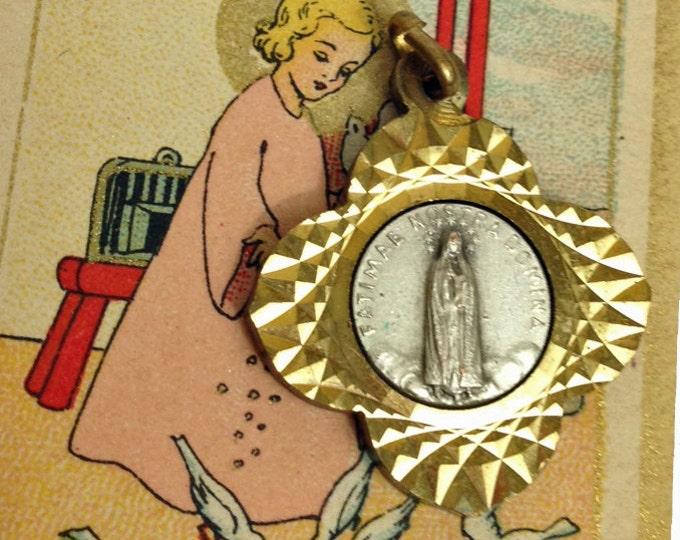 SUPER FATIMA MEDAL Vintage Religious Sunburst