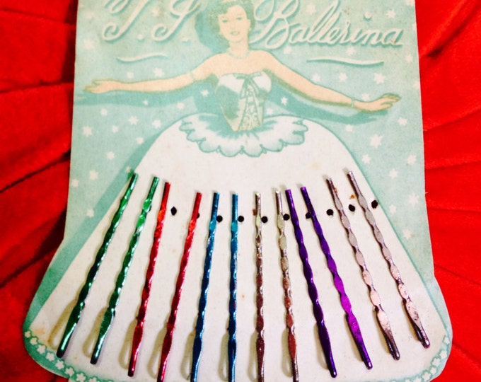 BALLERINA HAIR PINS Vintage Display Card Glamour