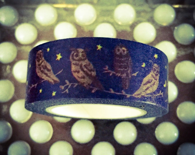 1pc HALLOWEEN OWL WASHI Stars Moons Frightfully Awesome Roll of Tape