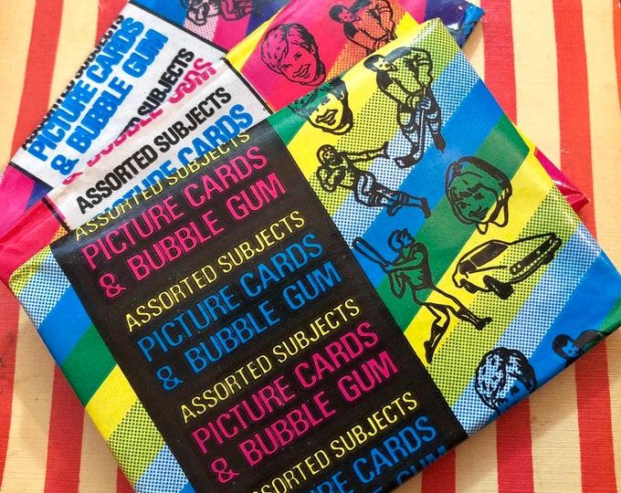 1pk MONSTER BUBBLEGUM CARDS Vintage 1980 Topps Bubble Gum Cards Vintage Monster Trading Cards Wax Pack Old Stock