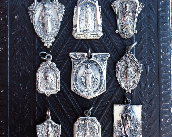 1pc VINTAGE RELIGIOUS MEDALLION 1900-1940s Miraculous Infant of Prague Scapular Medal Immaculate Conception Many Deco Your Pick