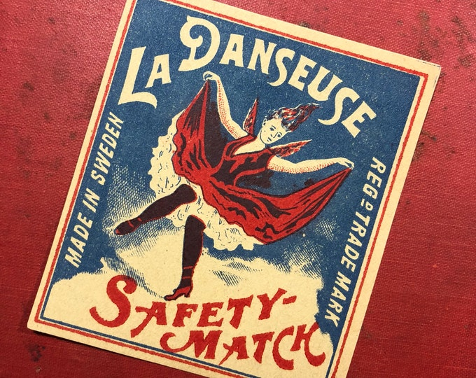 1pc DEVIL DANCER LABEL Antique Large Match Box Label La Danseuse