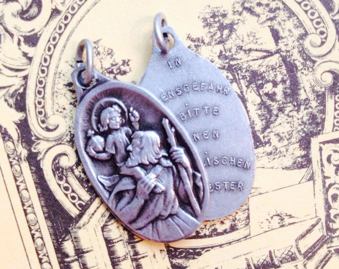 1pc GERMAN CHRISTOPHER DEVOTION Vintage Religious Medallion If Fatally Injured Invoke A Priest