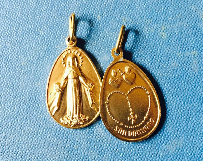 2pcs SAN DAMIANO MEDALS Vintage Religious Souvenirs Italy