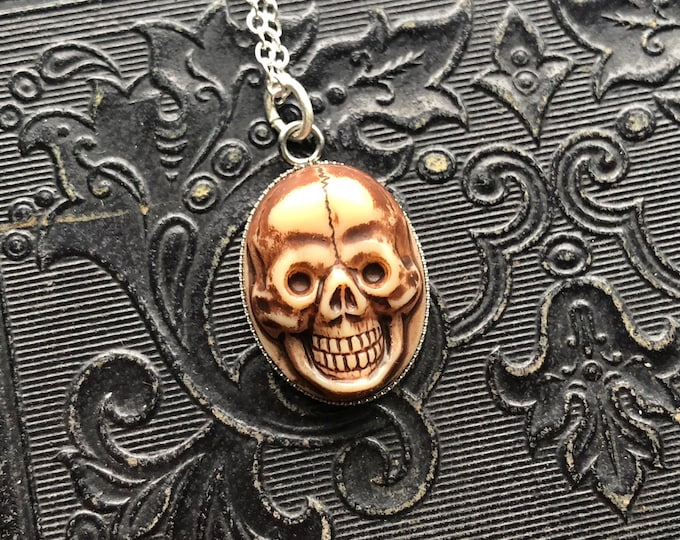 "GLASS SKULL NECKLACE Vintage Skull Charm Miniature Momento Mori Pressed Glass Cab On Thin Silver 22"" Chain Western Germany"