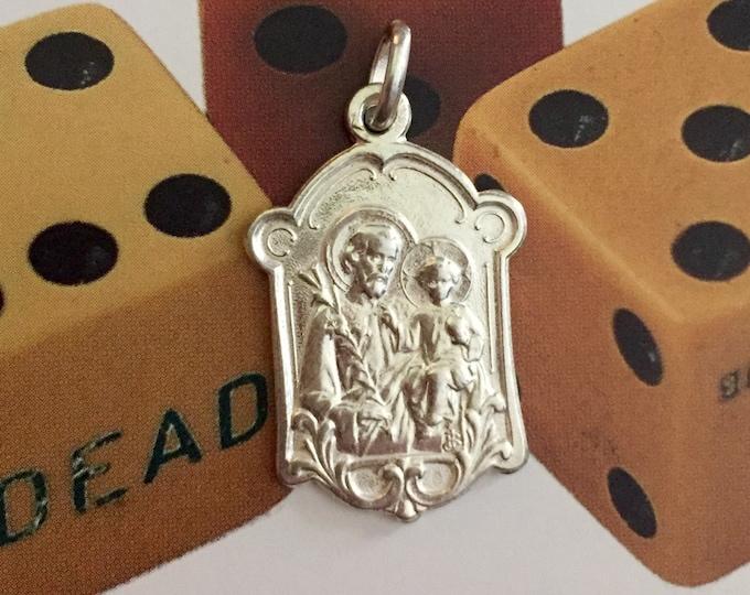 ST JOSEPH MEDAL Vintage Religious Guardian Angel Fancy Silver Plate Signed Penin & Bouix