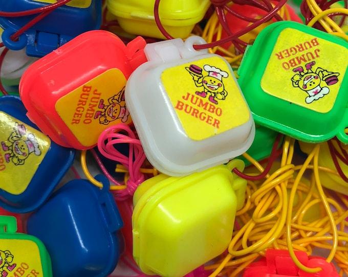 2pcs VINTAGE GUM SAVERS Miniature Plastic Burger Box Charm Necklaces