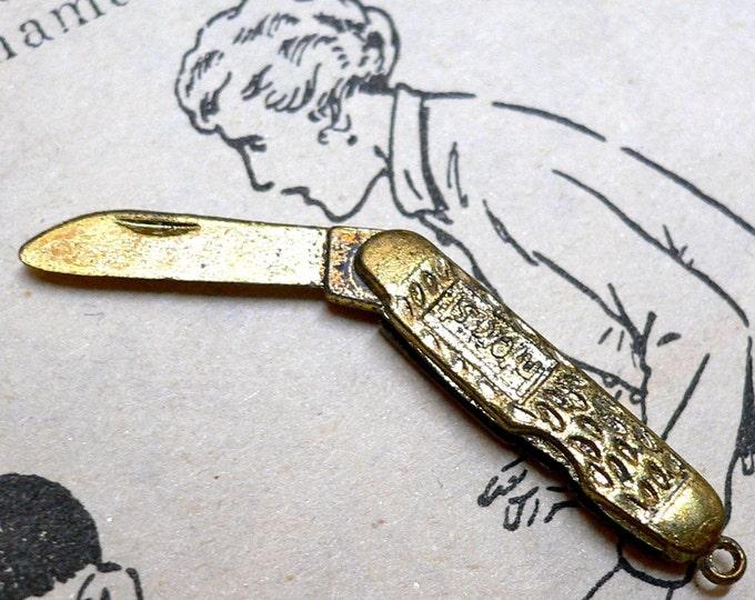 TINY KNIFE CHARM Vintage Moving Brass Opens