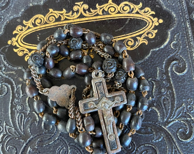 ANTIQUE WOODEN ROSARY Vintage Wooden Beads Some Carved Metal Crucifix Imperfect Complete 16""