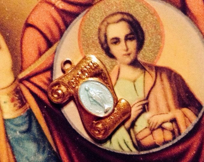 Vintage TINY ENAMEL MEDAL Virgin Mary Diploma