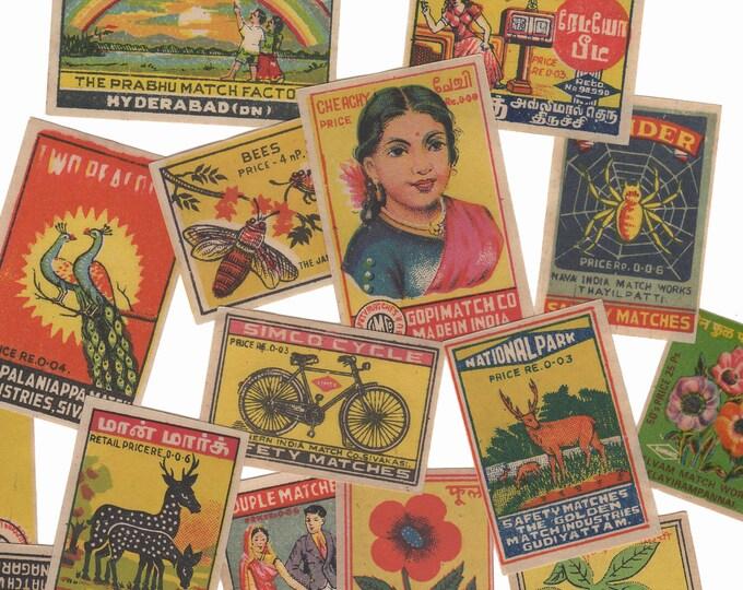 25pcs INDIAN MATCHBOX STICKERS Vintage Retro Images Set A