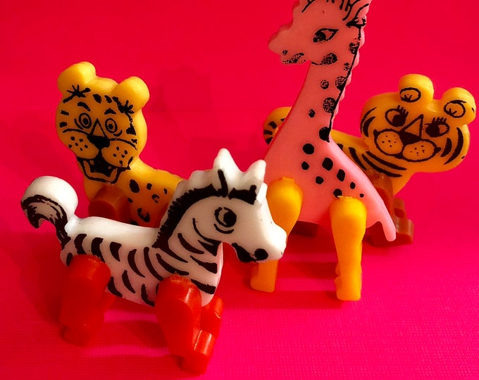 1pc VINTAGE PLASTIC ANIMAL Poseable Legs Double Sided Retro Figurines Zebra Leopard Giraffe Tiger Your Pick