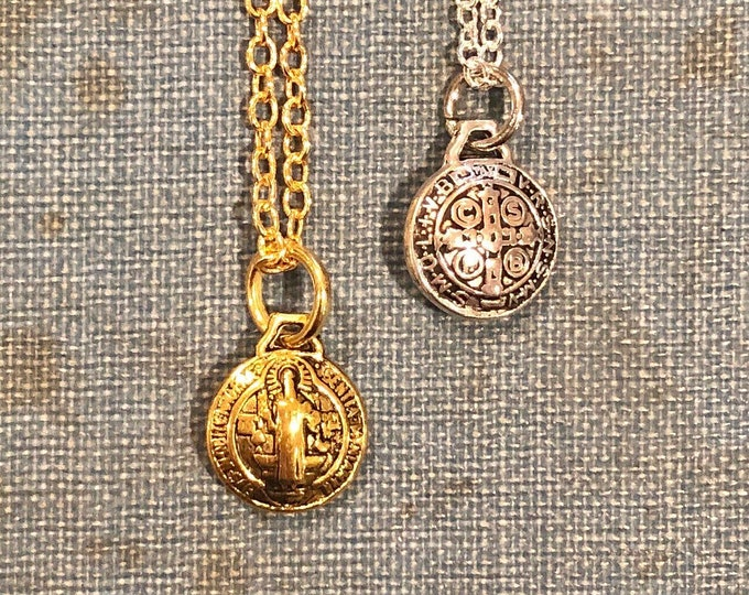 1pc SAINT BENEDICT NECKLACE Tiny Delicate Religious Medallion Protection From Evil St. Benedict Catholic Medal With Chain Gold or Silver
